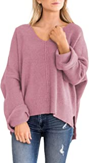 MIROL Women's Oversized Batwing Sleeve V Neck Solid Color Side Split Knit Pullover Sweater Loose Fit Tops