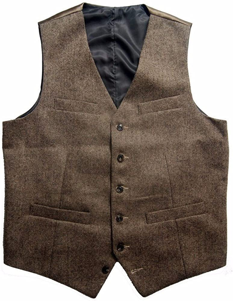 Premium Mens Relaxed Wool Blend Tweed Herringbone Slim Fit Wedding Tuxedo Waistcoat Suits Vest