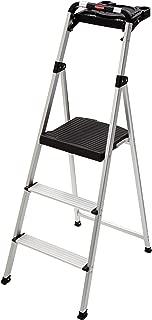 Rubbermaid RM-SLA3-T 3-Step Ultra Light Aluminum Step Stool with Project Tray, 225-Pound Capacity, Grey Finish (Renewed)