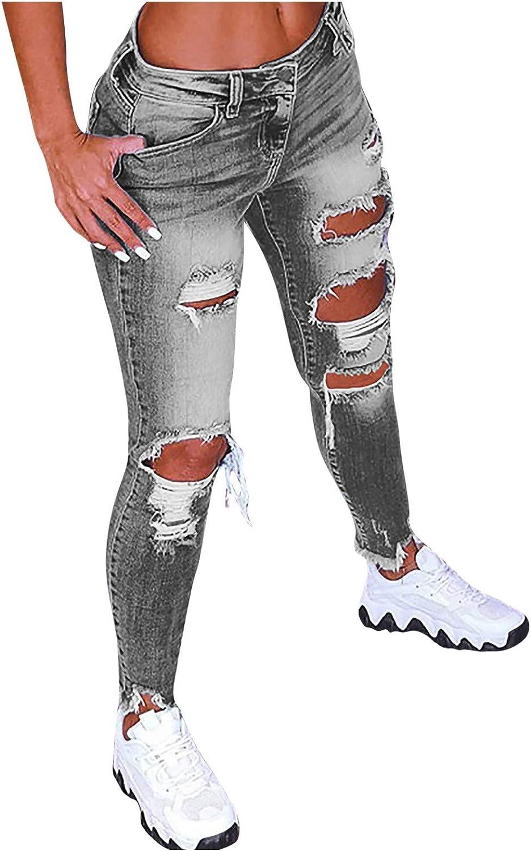 Womens Ripped Jeans Plus Size Mid-Rise Skinny Stretch Denim Capri Pants Classic Boyfriend Distressed Denim Pants