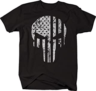 One Stop Services Vintage American Flag Vertical Tactical Punisher Skull Tshirt 5XL