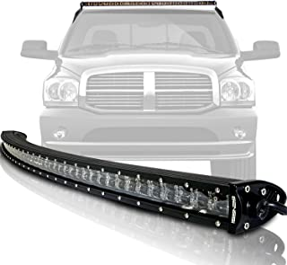 GENSSI 54 Inch 3D Curved 288W Spot Flood Combo LED Slim Double Row Light Bar Kit Mounting Bracket and Harness Switch for Offroad Trucks (Compatible with Ram 1500 2002-2008)