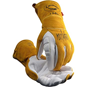 Caiman White/Gold Goat Grain Kontour Welding Gloves Arched Wrist Unlined Palm with Insulated Back/Padded Palm/Reinforced Side, Medium