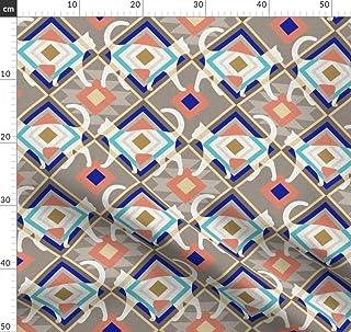Ethno, Katze, Marineblau, Grau, Segeltuch, Katzen Stoffe - Individuell Bedruckt von Spoonflower - Design von Mirabelleprint Gedruckt auf Baumwollstoff Klassik