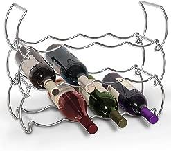 Smart Design 3-Tier Wine Rack - Steel Metal Frame - Rust Resistant Finish - 12 Wine Bottles, Pantry, Wine Cellar Storage Organization - Kitchen (18.5 x 14.125 Inch) [Chrome]