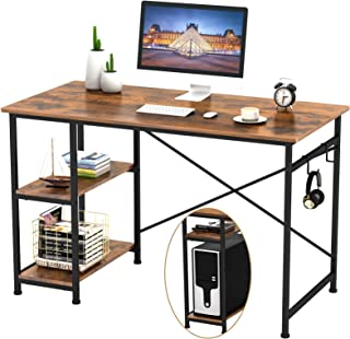"Engriy Writing Computer Desk 47"", Home Office Study Desk with 2 Storage Shelves on Left or Right Side, Industrial Simple Style Wood Table Metal Frame for PC Laptop Notebook"