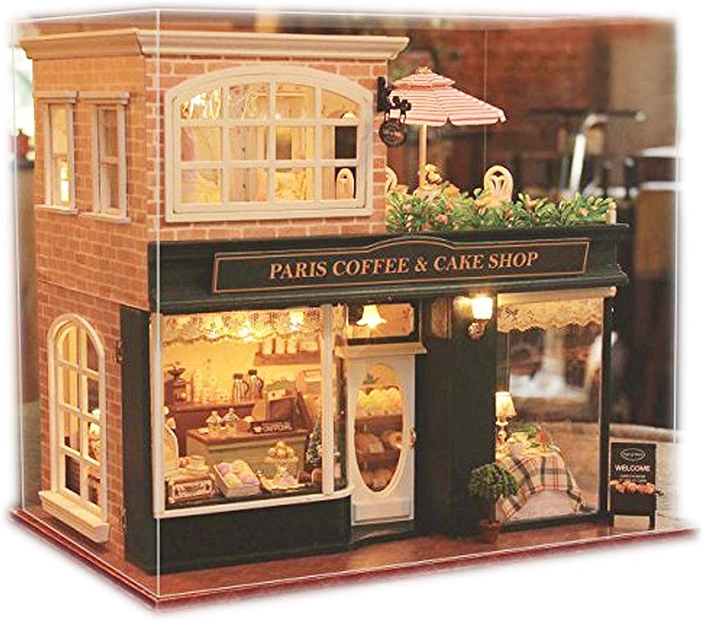 Hlzerne Dollhouse Miniaturen DIY House Kit mit LED-Licht und Staubschutz-Paris Coffee & Cake Shop