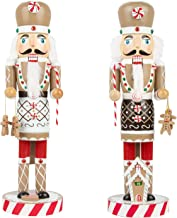 KI Store Christmas Nutcracker Set of 2 Chef Wooden Nutcracker King and Soldier Figurine Display Set for Christmas Decorations