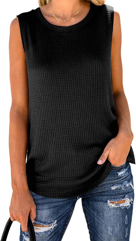Paitluc Women's Casual Summer Round Neck Sleeveless Tank Tops Loose Waffle Knit Tunic Tee Shirts S-XXL