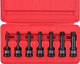 "Neiko 01130B 3/8"" Drive Allen Bit Socket Set, Metric Hex Driver, 4mm to 12mm | 7-Piece Set, Cr-Mo, Impact Grade, One-Piece Construction, 3-Inch Long"