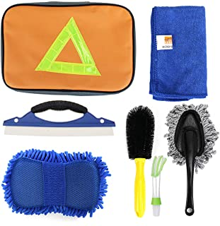 MYUANGO Vehicle Washing Cleaning Kit Tools Car Wash Equipment Six in One Car Wash Mitt Auto Cleaner Duster Vehicle Squeegee Microfiber Rag