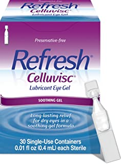 Refresh Celluvisc Lubricant Eye Gel, 30 Single-Use Containers, 0.01 fl oz (0.4mL) Each Sterile