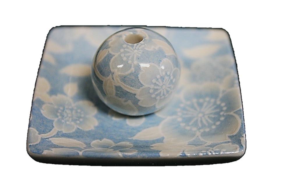 真面目なトロイの木馬見かけ上桜友禅 (水色) 小角皿 お香立て 陶器 ACSWEBSHOPオリジナル