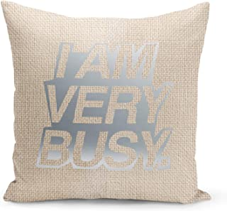 Busy Quotes Beige Linen Pillow with Metalic Silver Foil Print DIY Home Decor Accent Pillow