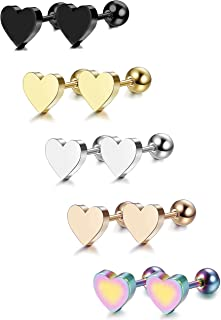 LOYALLOOK 5-6 Pairs Stainless Steel Heart Stud Earrings Barbell Piercing Studs for Women Men Teens