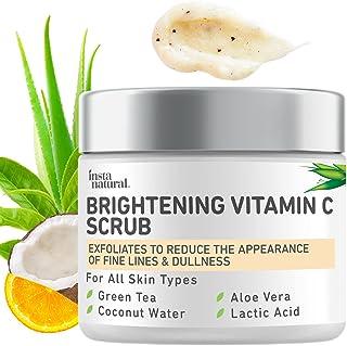 Brightening Vitamin C Face Scrub - Natural Cleansing Exfoliator - Blackhead Reducing Facial Mask - Deep Pore Cleanser - Ge...