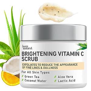 Brightening Vitamin C Face Scrub - Natural Cleansing Exfoliator - Blackhead Reducing Facial Mask - Deep Pore Cleanser - Gentle Exfoliant - Oily, Dry & Sensitive Skin - Green Tea & Coconut Water - 2oz