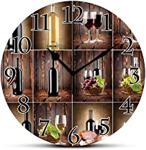 Silent Wall Clock,Wine,Wine Themed Collage on Wooden Backdrop with Grapes and Meat Rustic Country Drink Decorative,Brown Black Red Non Ticking Wall Clock/Desk Clock for Office Home Decor 9.5 inch