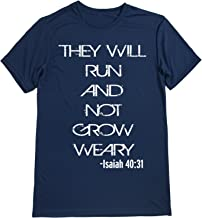 Dry Sports Shirt – Men Runner's Tee - Running Quotes - They Will Run and NOT Grow Weary - Isaiah