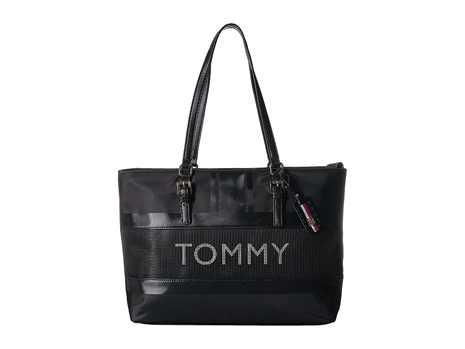 Tommy Hilfiger Julia Novelty Tote (Black) Handbags