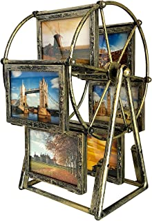 XBEEK Rotating Ferris Wheel Picture Frame, Shows for 12 Photos 3.5x5 in, Multiple Vintage Picture Frames with Glass Front, Fit for Desk Table Top