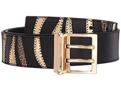 MICHAEL Michael Kors 42 mm Zebra Belt (Black/Gold) Women