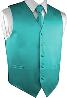Brand Q Men's Formal Prom Wedding Tuxedo Vest, Tie & Pocket Square Set in Teal