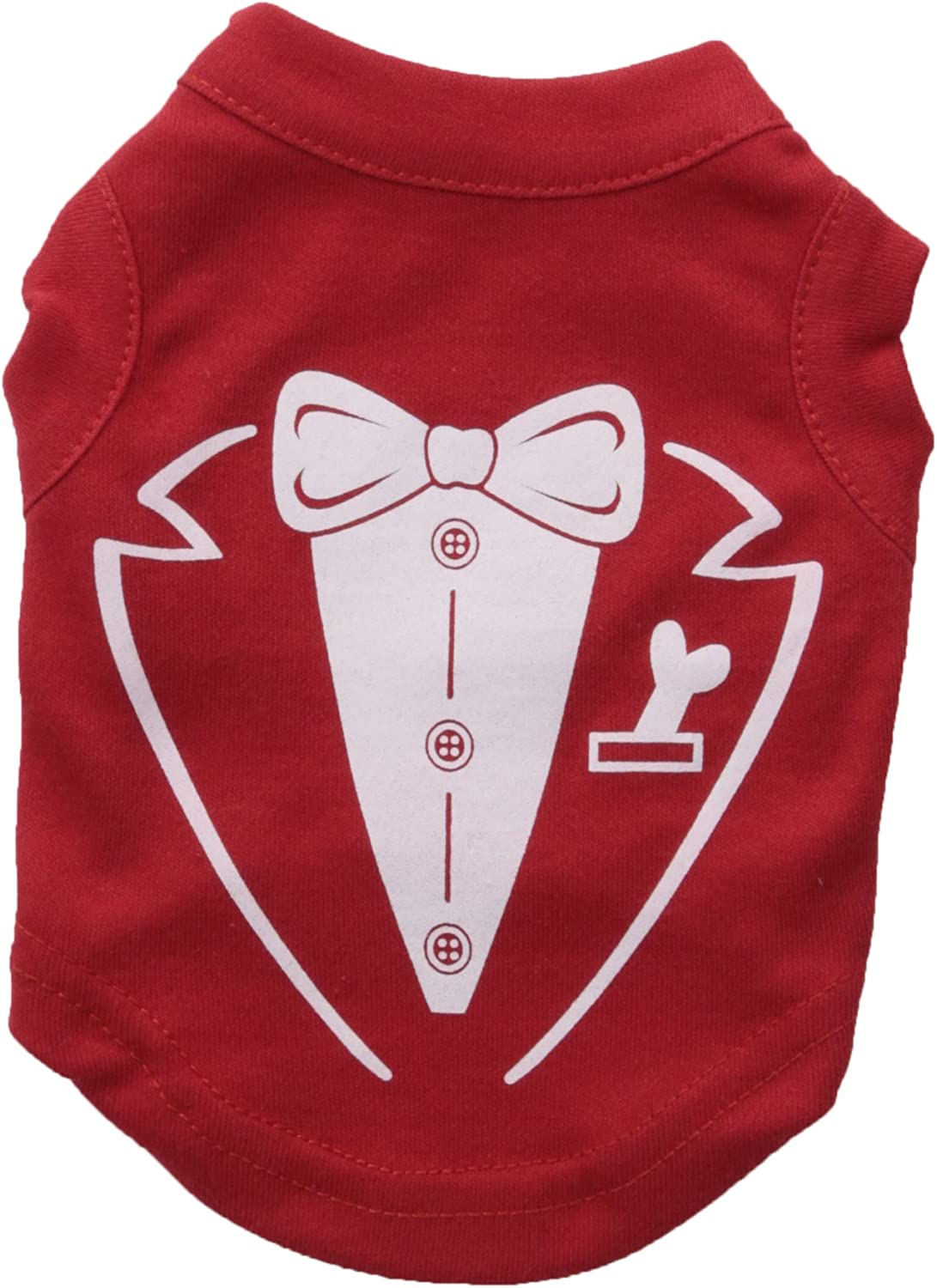 Mirage Pet Products Tuxedo Screen Print Shirt for Pets, XSmall, Red