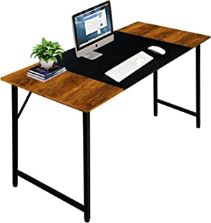 $43 » Sponsored Ad - Oshimei Computer Home Office Desk, 47 Inch Small Desk Study Writing Table with Storage Shelves, Modern Simple PC Desk with Splice Board, Black and Espresso (Dark Brown, 47 inch)