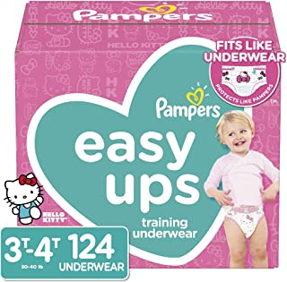 Pampers Easy Ups Pull On Disposable Potty Training Underwear for Girls, Size 5 (3T-4T), 124 Count