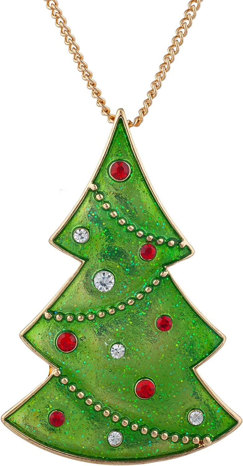 Lux Accessories Gold Tone Green Christmas Tree Charm Pendant Chain Necklace