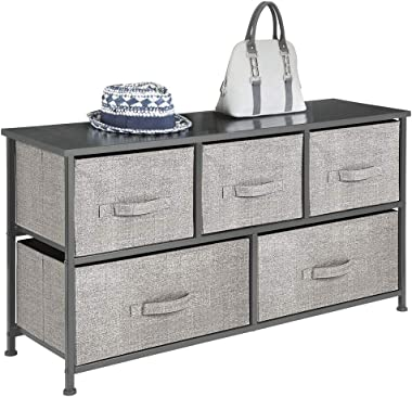 mDesign Extra Wide Dresser Storage Tower - Sturdy Steel Frame, Wood Top, Easy Pull Fabric Bins - Organizer Unit for Bedroom,