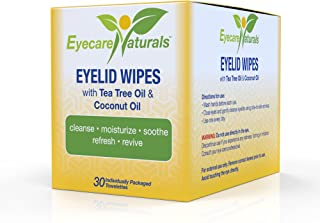 Eyecare Naturals Tea Tree Oil Eyelid Wipes With Coconut Oil - Dry Eyelid Wipes No Rinse, Natural Essential Oil Cleansing Eye Wipes - Daily Eyelid Makeup Remover - Box of 30 Individually Wrapped Wipes