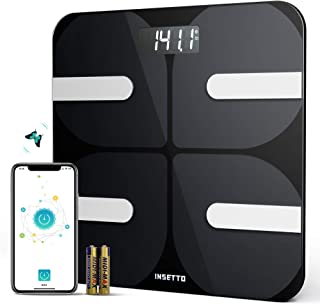 INSETTO Bathroom Scale with BMI and Body Fat Bluetooth Weight Body Fat Scale for Monitor 18 Key Body Composition and Supports Sync Data with The Mainstream Fitness app
