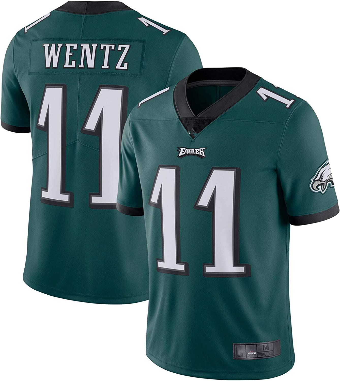 American Football Jersey T-Shirts Carson Philadelphia #11 Green,Wentz Eagles Game Player Jersey Breathable Sweatshirt for Men,Black,S