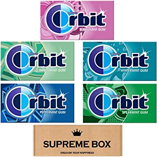 Orbit Gums Variety Pack of 15,Peppermint, Wintergreen, Spearmint, Bubblemint, Sweet Mint, Sugar Free (210 Pieces Total)