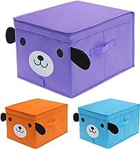 homyfort Niños Juguetes Caja de Tela para Almacenaje con Motivos Colorido, Set de 3 Gran Cajas de Almacenamiento con Tapa, Plegable, 30 x 40 x 25 cm, 3 Colores, XDGLB03P