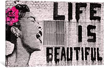 Banksy Life Is Beautiful Wall Art Canvas Print by CanvasBy 100x67cm/3.5cm Deep