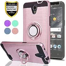 ZTE ZFIVE 2 / Prestige/Prestige 2 / Avid Plus/Maven 2/ Sonata 3/ Avid Trio Phone Case,Ymhxcy 360 Degree Rotating Ring & Bracket Dual Layer Resistant Back Cover for ZTE N9136-ZH Rose Gold