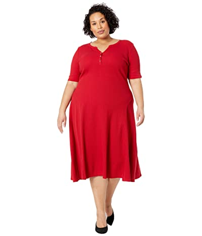 LAUREN Ralph Lauren Plus Size Cotton Henley Dress Women