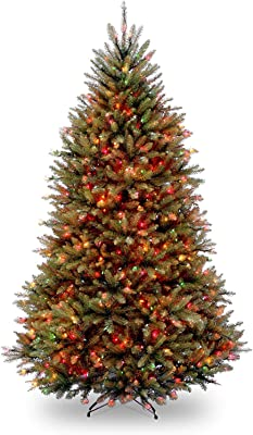 National Tree Company Pre-lit Artificial Christmas Tree | Includes Pre-strung Multi-Color Lights and Stand | Dunhill Fir - 7.5 ft