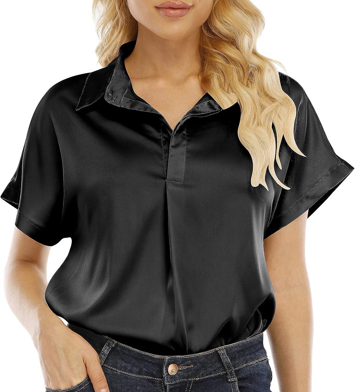 Anbenser Womens Silk Blouses Short Sleeve V Neck 2 Buttons Office Work Satin Shirt