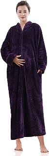 Women's Zip Front Bathrobe Soft Warm Long Fleece Plush Robe Plus Size Full Length Housecoat Sleepwear Dressing Gown