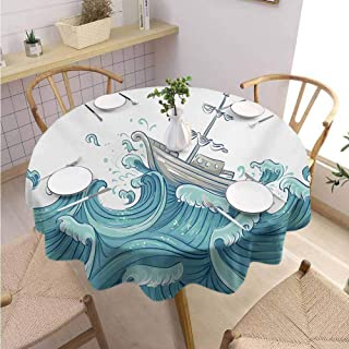 Polyester Round Tablecloth Nautical for Round Tables Ship Being Tossed by Giant Ocean Waves Aquatic Old Vessel Sea Journey Illustration,Round - 39 inch Aqua Taupe