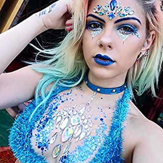 Ludress Crystal Chest Sticker Glitter Rhinestones Body Stickers Rave Festival Chest Patch Mermaid Body Jewels for Women an...