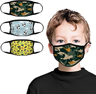 Kids Face Bandana 3-Pack with Colorful Cartoon Design Face Bandanas Reusable Cloth Covering Set for Teens Boys Ages 5-13