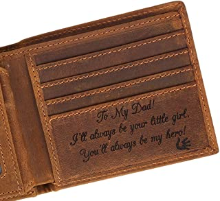 Engraved Personalized Wallet For Father, Gift For Dad on Birthday, Christmas