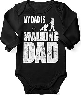 Mikalino Babybody mit Spruch für Jungen Mädchen Unisex Langarm My Dad is The Walking Dad   handbedruckt in Deutschland   Handmade with Love