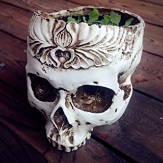 Allrise Human Gothic Skull White Resin Succulent Planter Pots Flower Plant Containers Halloween Decoration (1#)
