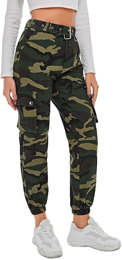 Soly hux,pantaloni sportivi da donna mimetici con tasche laterali con chiusura lampo,100% poliestere 180801243-18-16-S